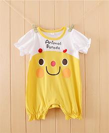 Teddy Guppies Half Sleeves Cute Smiley Print Romper - Yellow & White