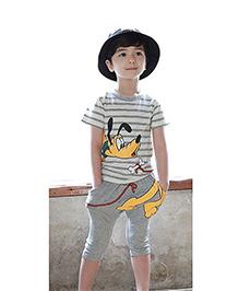 Teddy Guppies Half Sleeves Stripes And Pluto Print T-Shirt And Shorts Set - Grey