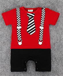 Teddy Guppies Half Sleeves Suit Design Romper - Red & Black