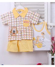 Teddy Guppies Half Sleeves Printed Check Shirt Sleeveless Vest & Shorts Set - Yellow