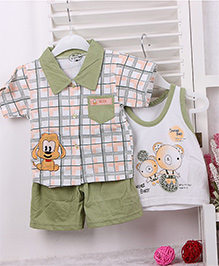 Teddy Guppies Half Sleeves Printed Check Shirt Sleeveless Vest & Shorts Set - Green
