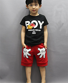 Teddy Guppies Half Sleeves Printed T-Shirt And Shorts - Black & Red