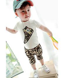 Teddy Guppies Half Sleeves Camo Print T-Shirt And Shorts Set - White & Brown