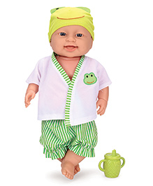 Baby Musical Doll With Frog Print Dress And Bottle White & Green - Height 40 Cm