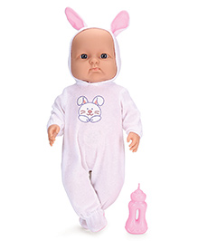 Baby Musical Doll With Rabbit Print Dress And Bottle White & Pink - Height 40 Cm
