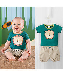 Teddy Guppies T-Shirt And Shorts Set Tiger Face Patch - Green And Beige