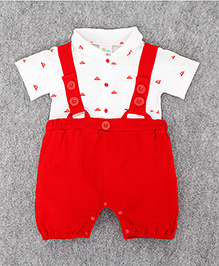 Teddy Guppies Half Sleeves Dungaree Style Romper Boat Print - Red And White