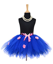 Tu Ti Tu Elegant Tutu Skirt With Flower - Indigo