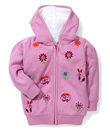 Yellow Apple Floral Hooded Sweater - Light Pink
