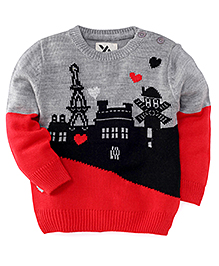 Yellow Apple Full Sleeves Sweater - Red Grey