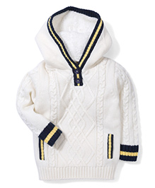 Yellow Apple Full Sleeves Hooded Sweater - Off White
