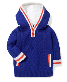 Yellow Apple Full Sleeves Hooded Sweater - Royal Blue