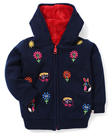 Yellow Apple Floral Hooded Sweater - Navy Blue