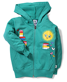 Cucumber Hooded Sweat Jacket Sun Print - Sea Green