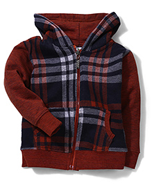 Cucumber Hooded Sweat Jacket Checks Print - Navy And Brown