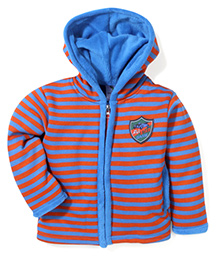Cucumber Hooded Jacket Stripes Pattern - Red And Blue