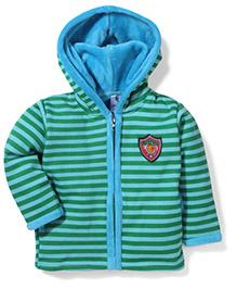 Cucumber Hooded Jacket Stripes Pattern - Green