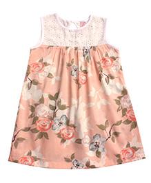 Campana A-line Dress Floral Print - Peach