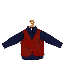 Campana Full Sleeves Party Wear Shirt With Waistcoat - Navy
