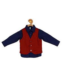 Campana Full Sleeves Party Wear Shirt With Waistcoat - Navy