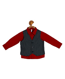 Campana Full Sleeves Party Wear Shirt With Waistcoat - Red