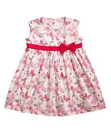 Campana Sleeveless Dress With Bow - Pink & White