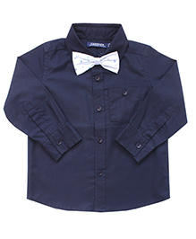 Campana Full Sleeves Party Wear Shirt With Bow Tie - Navy