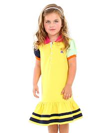 Cherry Crumble California Polo Shirt Dress - Yellow