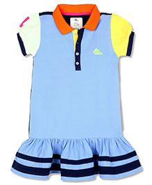 Cherry Crumble California Polo Shirt Dress - Blue