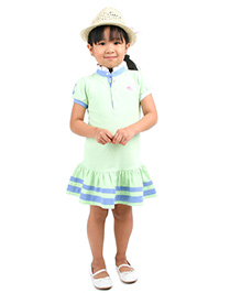 Cherry Crumble California Mandarin Neck Polo Dress - Green