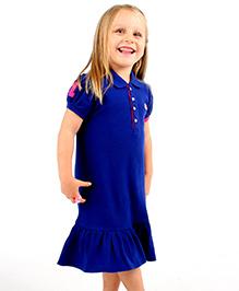 Cherry Crumble California Polo Shirt Dress - Royal Blue