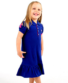 Cherry Crumble California Polo Shirt Dress - Royal Blue