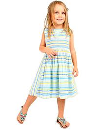 Cherry Crumble California Striped Dress - Blue & Yellow