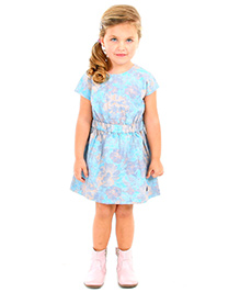 Cherry Crumble California Floral Fit & Flare Dress - Blue