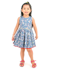 Cherry Crumble California Bird Print Pleated Dress - Blue