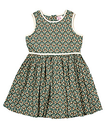 Teeny Tantrums Printed Cotton Frock - Green