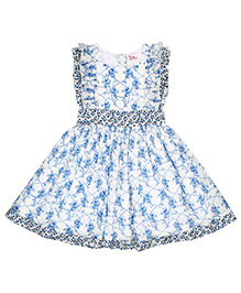 Teeny Tantrums Printed Cotton Frock - White & Blue