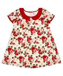 Teeny Tantrums Floral Print A-Line Dress - Red