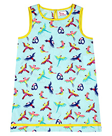 Teeny Tantrums Bird Print A-Line Dress - Blue & Multicolour