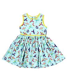 Teeny Tantrums Bird Print Dress - Blue