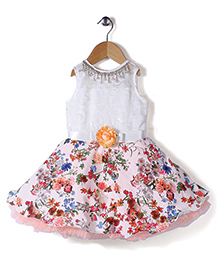 M'Princess Flower Print Sleeveless Dress - White