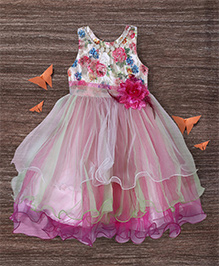 M'Princess Layered Flowing Dress With Flower - Pink
