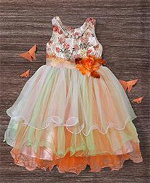 M'Princess Layered Flowing Dress With Flower - Orange