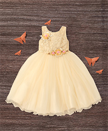 M'Princess Flower Embroidery Design Gown - Off White
