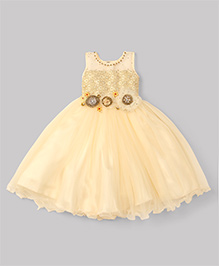 M'Princess Flower & Diamond Embroidery Gown - Off White