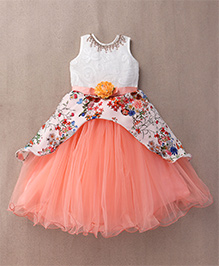 M'Princess Flower Print Gown - Orange