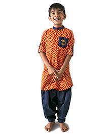 Tiber Taber Zig Zag Pathani Set - Orange & Blue