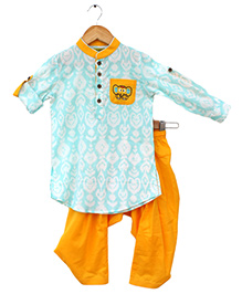 Tiber Taber Elephant Print Ikat Pathani Set - Blue & Yellow