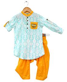 Tiber Taber Elephant Print Ikat Pathani Set - Blue & Yellow