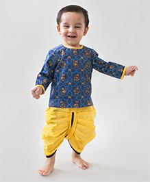 Tiber Taber Mouse Print Dhoti Kurta Set - Indigo & Yellow